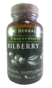 GNC Herbal Plus® Fingerprinted™ Bilberry 500mg 90 Capsules (Front)