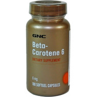 GNC Beta Carotene 6 Dietary Supplement (100 Softgels)
