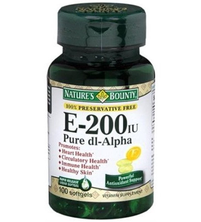 Nature's Bounty Vitamin E-200 IU Pure DL-Alpha 100 Softgels
