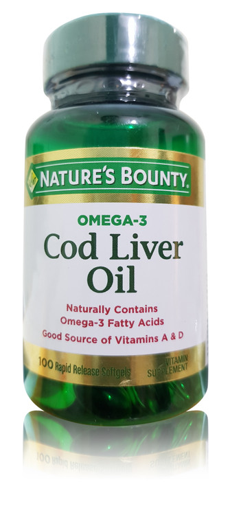 Natures Bounty Omega-3 Cod Liver Oil - 100 Softgels. Buy Original Product in Pakistan.