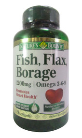 Natures Bounty Omega 3-6-9 Fish Flax Borage 1200mg (72's Softgels) (Front)