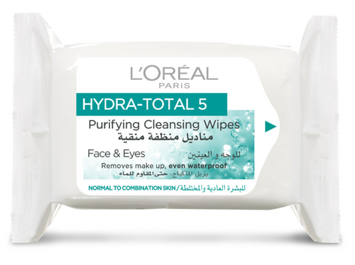 L'Oreal Paris Hydra Total 5 Purifying Cleansing Wipes (Normal & Combination Skin)