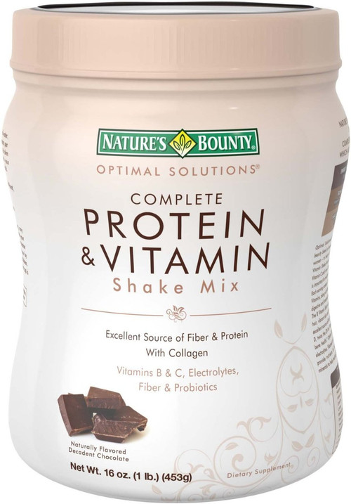 Nature's Bounty Optimal Solution Complete Protein & Vitamin Shake Mix Chocolate 16 O.Z. (Front)