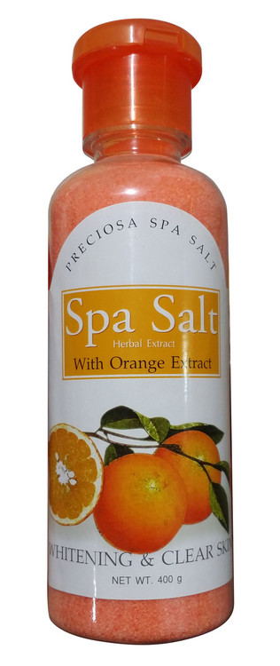 Preciosa Spa Salt Herbal Extract With Orange Extract Whitening & Clear Skin 400 Gram(Front)