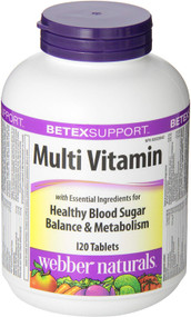 Webber Naturals Betex Support Multi Vitamin 120 Tablets diabetes health support