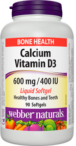 Webber Natural Calcium 600 with D3 400IU 90 Softgels