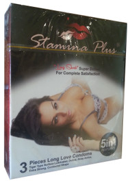 Stamina Plus Super Dotted 5 in 1 Featured Condoms 3 Pieces