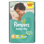 Pampers Baby-Dry Mega Pack [Size 3/Medium/4-9 KG, 72 Diapers) original product