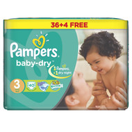 Pampers Baby Dry Jumbo Pack Medium Butterfly Size 3 Midi/4-9 KG/40 Diapers original product