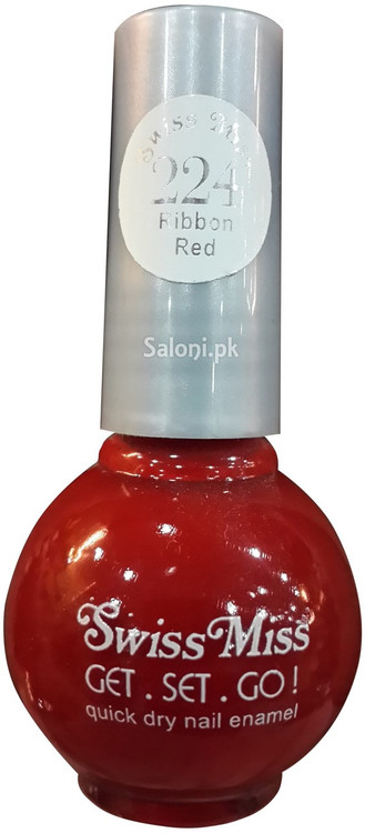 Swiss Miss Quick Dry Nail Enamel Ribbon Red 224 Front