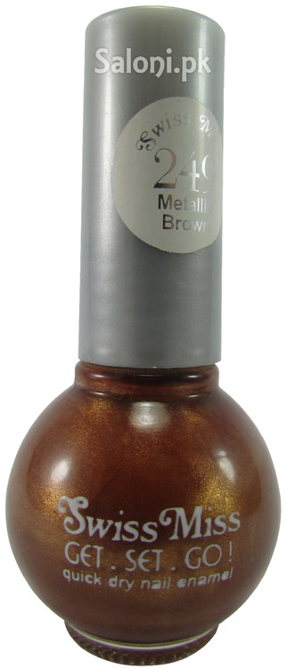Swiss Miss Quick Dry Nail Enamel Metallic Brown 249 Front