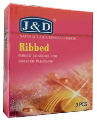 J&D Ribbed Natural Latex Rubber Condom 3 Pieces buy online in pakistan