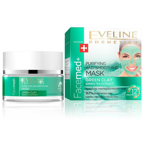 Eveline FaceMed Smoothening Mask Green Tea Extract 50ML buy online in pakistan green tea clay mask original products