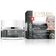 Eveline FaceMed Purifying Detoxifying Volcanic Clay Mask 50ML (Activated Carbon) buy online in pakistan original eveline products lowest price carbon clay mask