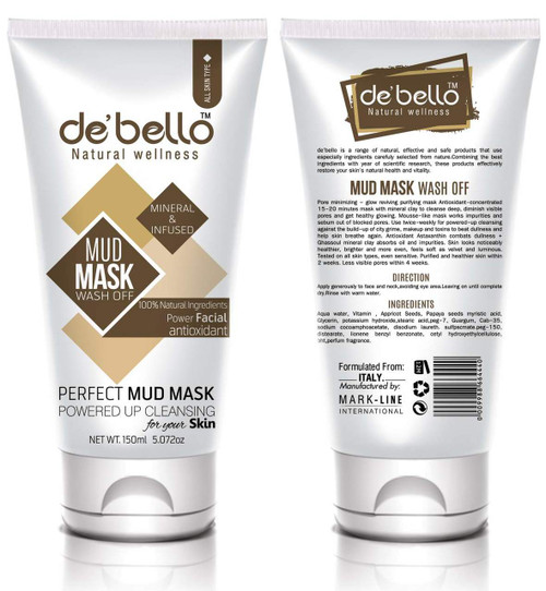 De'Bello Mud Mask Wash Off 150 ML buy online in pakistan