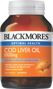 Blackmores COD Liver Oil 1000 mg 80 Capsules. Lowest price on Saloni.pk.