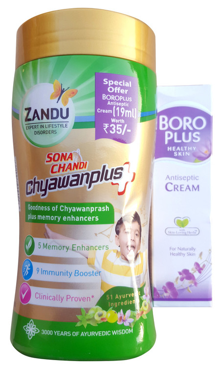 Zandu Chyawanprash Plus 450g with Free Boro Plus Antiseptic Cream