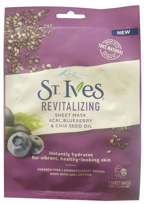 St.Ives Revitalizing Face Mask Acai, Blueberry & Chia seed Oil 1 Sheet
