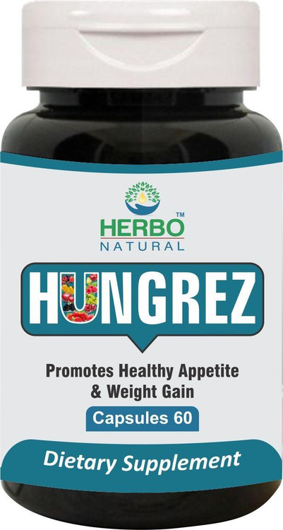 Herbo Natural Hungrez Dietary Supplement 60 Capsules. Lowest price on Saloni.pk