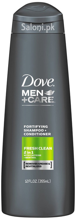 Dove Men + Care Fresh Clean 2 In 1 Fortifying Shampoo + Conditioner Front