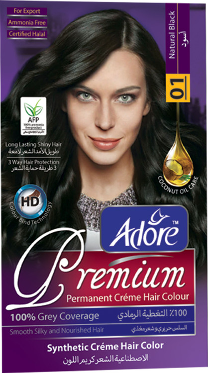 Adore Natural Black Premium Hair Colour 1 Gram 60  lowest price in pakistan on saloni.pk