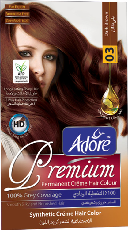 Adore Dark Brown Premium Hair Colour 3 Gram 60 Rs 270 only lowest price in pakistan on saloni.pk