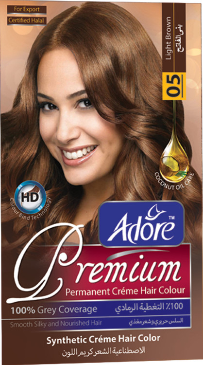Adore Light Brown Premium Hair Colour 5 Gram 60 Rs 270 only lowest price in pakistan on saloni.pk
