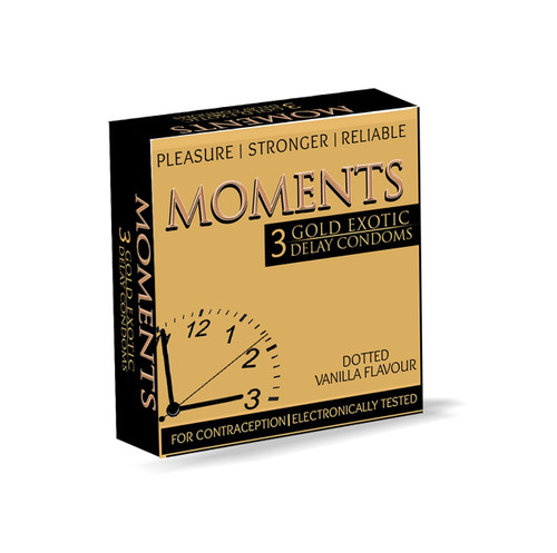 The Vitamin Company 10 packs of Moments Gold Exotic Delay Condoms (30 Condoms) Lowest price on Saloni.pk