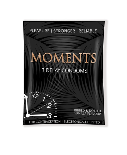 The Vitamin Company 10 packs of Moments DELAY Condoms (Ribbed & Dotted) Vanilla Flavour (30 Condoms). Lowest price on Saloni.pk