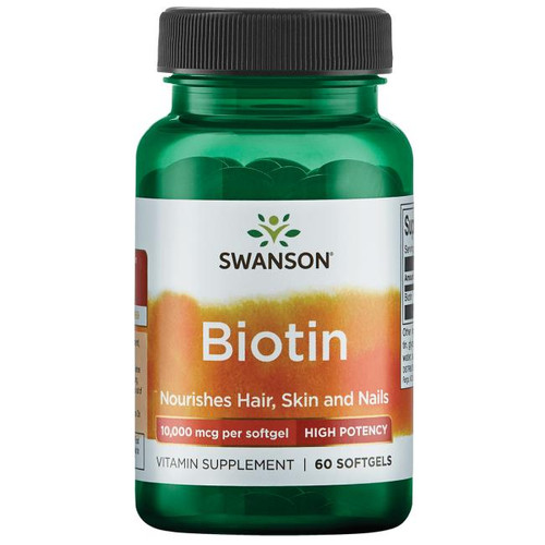 Swanson Biotin 10000 Mcg Super Strength For Hair, Skin And Nails - 60 Softgels. Lowest price on Saloni.pk