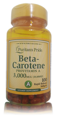 Puritan's Pride Beta-Carotene Provitamin A 3000 mcg - 100 softgels. Lowest price on Saloni.pk