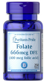 Puritan's Pride Folate 666mcg DFE - 250 Tablets. Lowest price on Saloni.pk