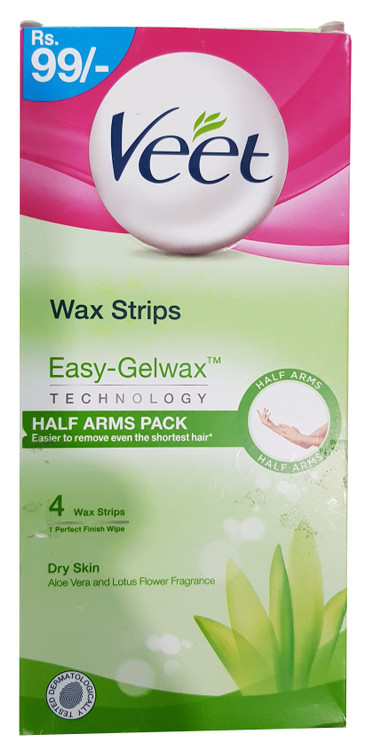 Veet Wax Strips With Gel-Wax technology For Dry Skin - 4 Wax Strips. Buy Original Products in Pakistan at Saloni,pk