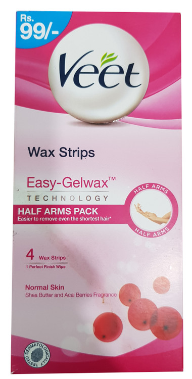 Veet Wax Strips With Gel-Wax Technology For Normal Skin - 4 Wax Strips. Buy Original Products on Saloni.pk