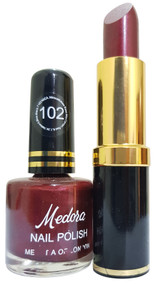Medora Lipstick and Nail Polish Pair Pack 102. Lowest price on Saloni.pk