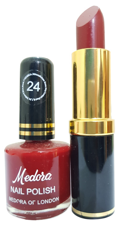 Medora Lipstick and Nail Polish Pair Pack 24. Lowest price on Saloni.pk
