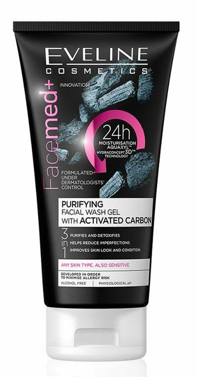 Eveline Facemed Purifying Facial Wash Gel with Activated Carbon 150 ML Lowest Price on Saloni.Pk