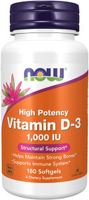 NOW FOOD Vitamin D3 1,000 IU -180 Veg Capsules buy online in pakistan