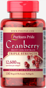 Puritan's Pride Cranberry Fruit Concentrate Triple Strength 12,600 mg - 100 Softgels Buy online in Pakistan on Saloni.pk