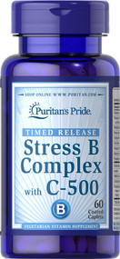 Puritan's Pride Stress Vitamin B-Complex with Vitamin C-500 Timed Release - 60 Coated Caplets Buy online in Pakistan on Saloni.pk