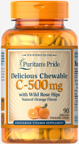 Puritan's Pride Vitamin C-500 mg Chewable with Rose Hips - 90 Chewable Tablets Buy online in Pakistan on Saloni.pk