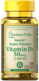 Puritan's Pride Vitamin D3 50 mcg (2000 IU) - 100 Softgels Buy online in Pakistan on Saloni.pk