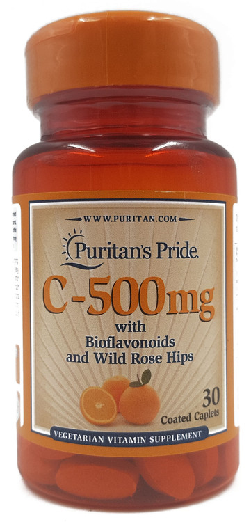 Puritan's Pride Vitamin C-500 mg with Bioflavonoids and Rose Hips Trial Size - 30 Caplets Buy online in Pakistan on Saloni.pk