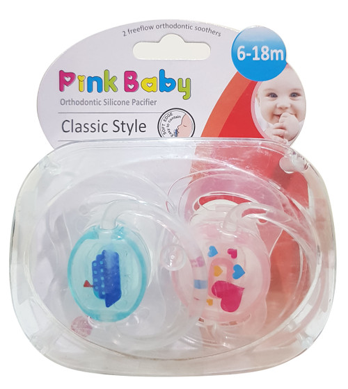 Pink Baby Orthodontic Silicon Pacifier Classic Style,  6-18m (A-215) Buy online in Pakistan on Saloni.pk