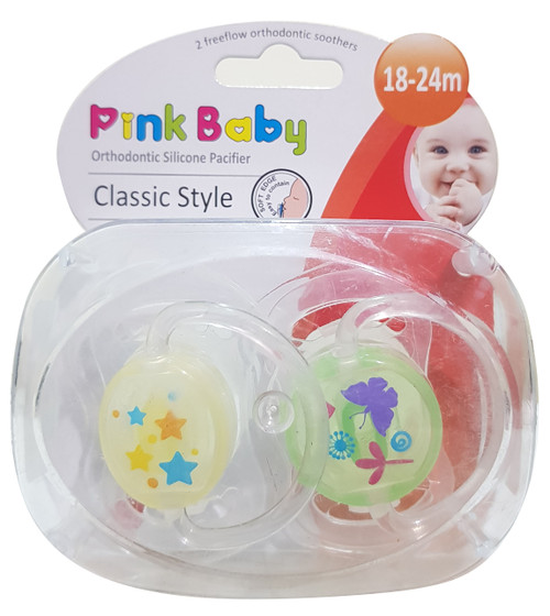 Pink Baby Orthodontic Silicon Pacifier Classic Style,  18-24m (A-216) Buy online in Pakistan on Saloni.pk