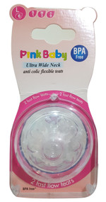 Pink Baby Ultra Wide Neck Anti-colic Flexible Teats, 2 fast flow teat- Large 6 (A-33) Buy online in Pakistan on Saloni.pk