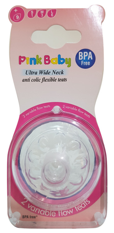 Pink Baby Ultra Wide Neck Anti-colic Flexible Teats, 2 variable flow teats- Variable 9+ (A-34) Buy online in Pakistan on Saloni.pk