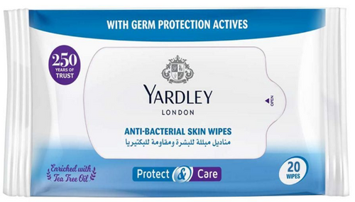 Yardley Protect & Care Anti-Bacterial Skin Wipes - 20 Wipes Buy online in Pakistan on Saloni.pk