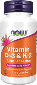Now Foods Vitamin D3 - K2 1000IU, 45 mcg - 120 Veg Capsules Buy online in Pakistan on Saloni.pk