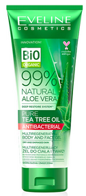 Eveline  Bio Organic 99% Natural Aloe Vera Tea Tree Oil Antibacterial Body & Face Gel 250ml Buy online in Pakistan on Saloni.pk